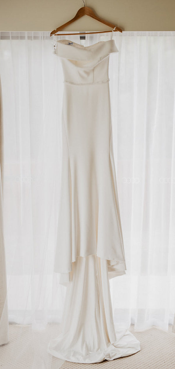 Off Shoulder Simple Design White Satin Open Back Mermaid Wedding Dresses,DB0172