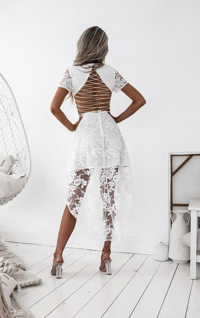 Off White Lace Popular High Low Short Sleeve Homecoming Dresses,BD0169