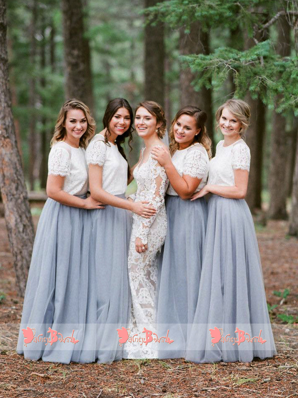 2ccaba17e7b73 Off White Lace Top Grey Tulle Popular Two Piece Bridesmaid Dresses With Short  Sleeves,DB112