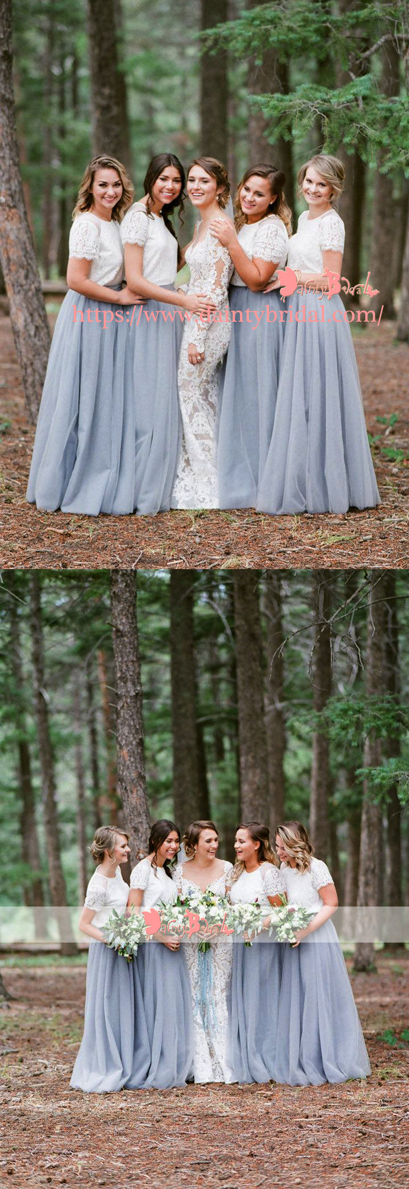 Off White Lace Top Grey Tulle Popular Two Piece Bridesmaid Dresses With Short Sleeves,DB112