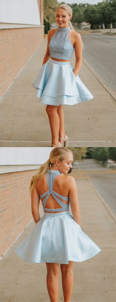 Pale Blue Beading Top Two Piece High Neck Open Back Homecoming Dresses,BD0187