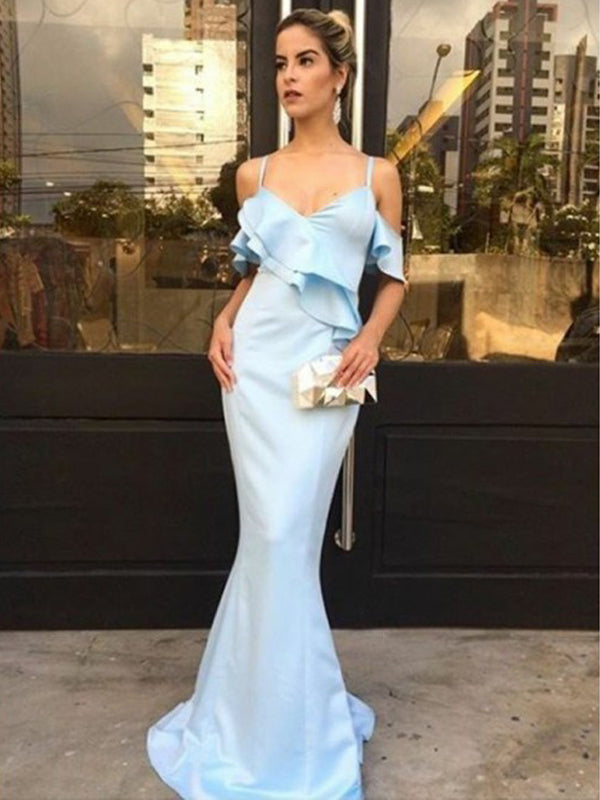 Pale Blue Elastic Satin Mermaid Elegant Prom Dresses, DB1083