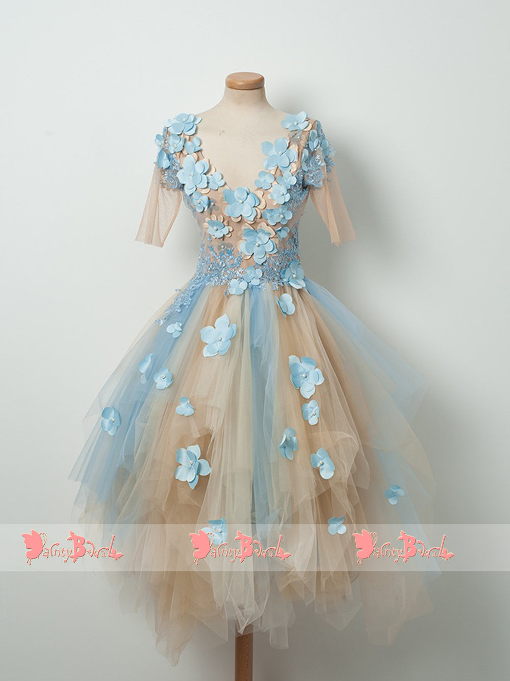887835e5ca1 Pale Blue Lace With Handmade Flowers Half Sleeves V-neck Sweet Homecoming  Dresses