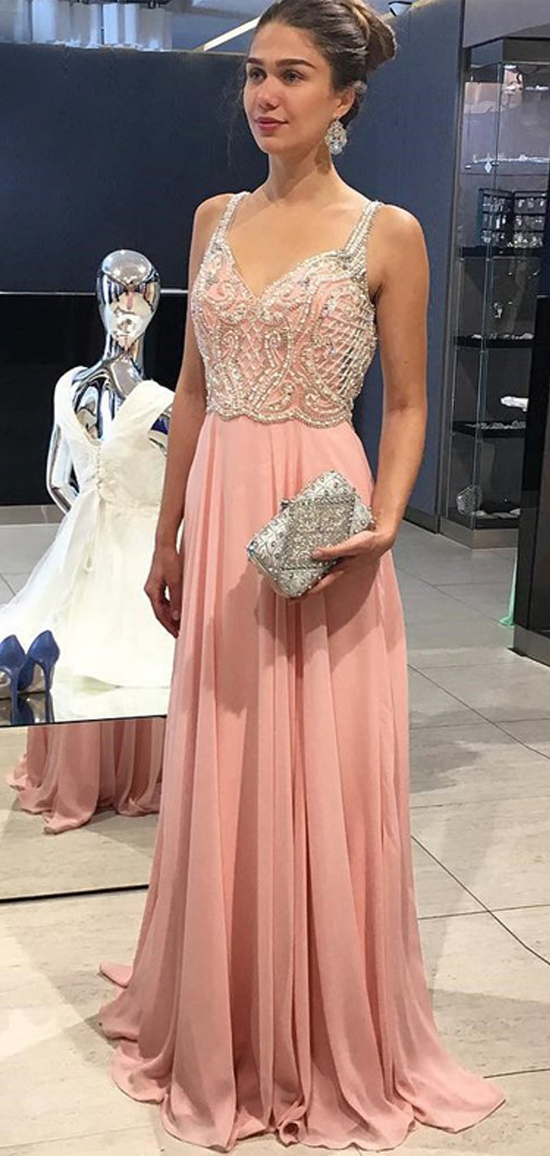 Peach Chiffon Beading Backless A-line Prom Dresses , DB1081