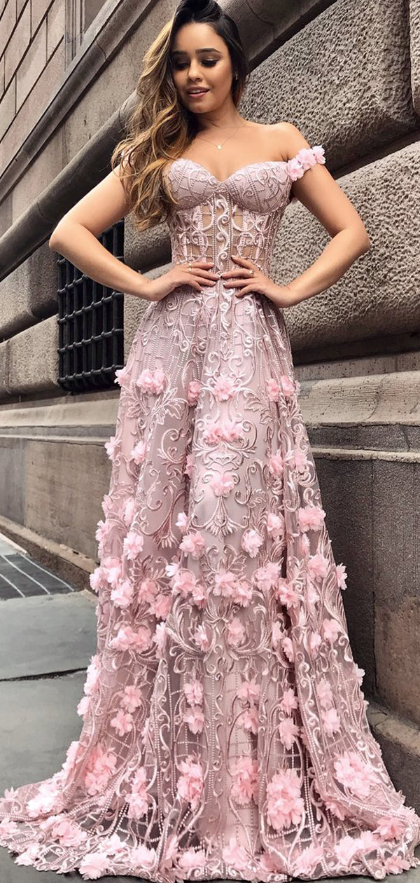 bc9a12c698 Pink Lace Applique Off Shoulder Illusion Prom Dresses, DB1101