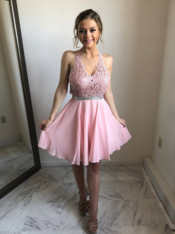 Pink Lace Chiffon V-neck Open Back Homecoming Dresses ,BD0175