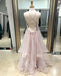 Pink Lace Tulle Spaghetti Straps Lace Up Back Prom Dresses, DB1086