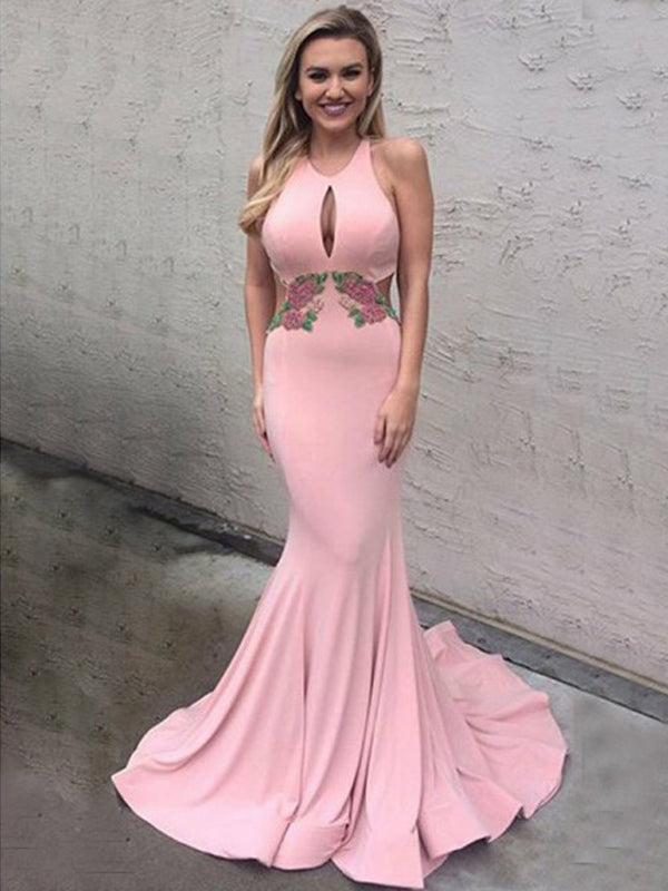 Pink Satin Applique Halter Mermaid Prom Dresses, DB1078