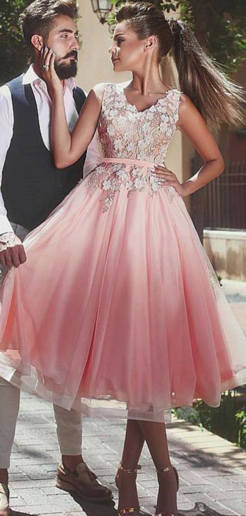 Pink Tulle Lace Apllique Sleeveless V-neck Homecoming Dresses,BD0200