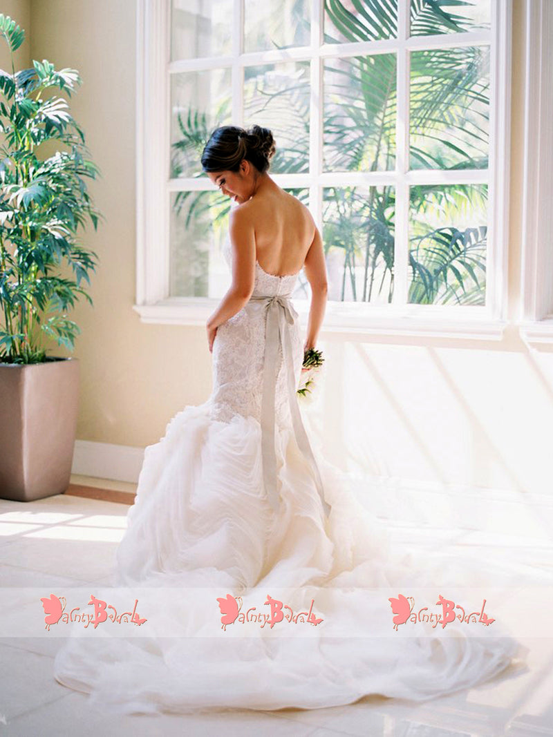 Popular Lace Ruffles Organza Mermaid Scoop Back Strapless Wedding Dresses,DB0143
