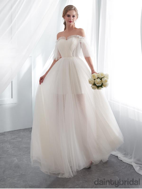 Pretty sweetheart tulle with train straight wedding dress,ball gown.DB1007