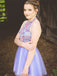 Purple Tulle Colorful Rhinestone Beading Halter Homecoming Dresses,BD0186