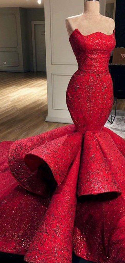 Red Beading Satin Tiered Mermaid Strapless Prom Dresses, DB1090