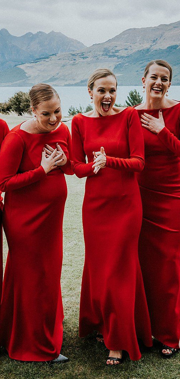 Red Jersey Long Sleeve Sheath Cheap Long Bridesmaid Dresses,DB129