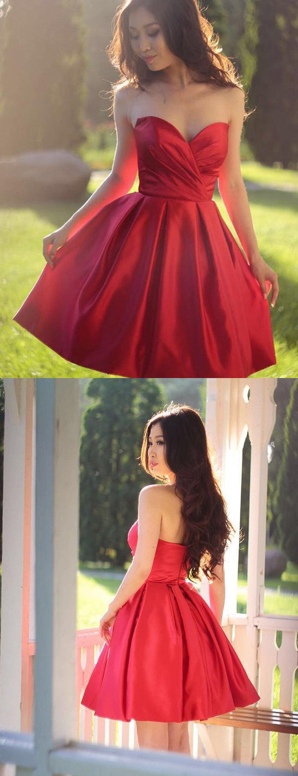 Red Satin Strapless Simple Cheap Homecoming Dresses ,BD0204
