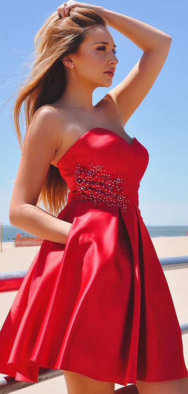 Red Soft Satin Sweetheart Strapless With Bow Applique Pockets Homecoming Dresses,BD0207