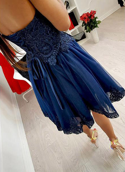 Royal Blue Lace Tulle Sweetheart Strapless Homecoming Dresses,BD0167