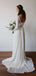 See Through Lace Long Sleeve Ivory Chiffon Beach Wedding Dresses,DB0183