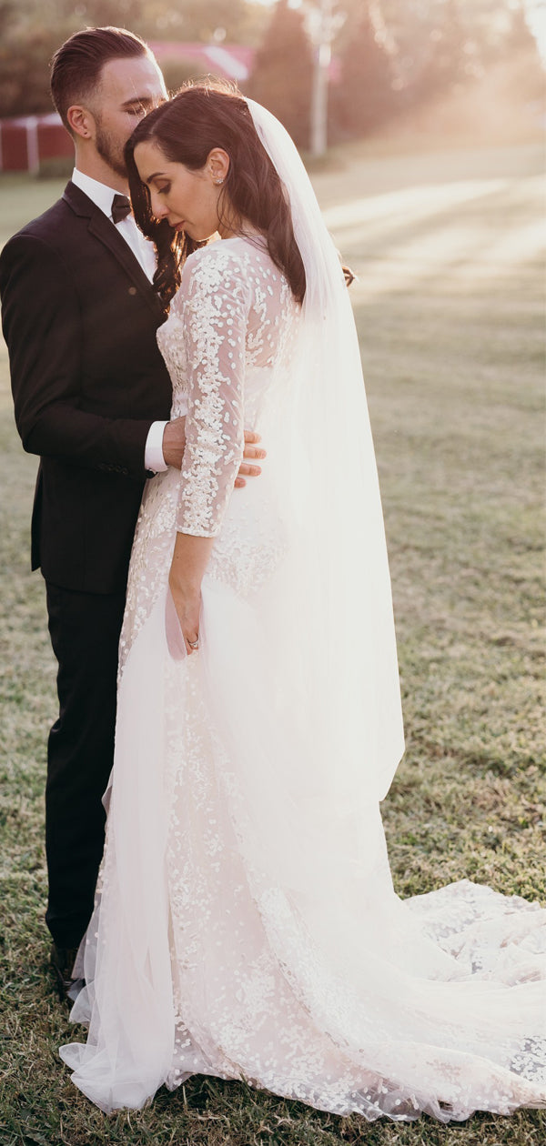 See Through Lace Tulle Long Sleeve Charming Wedding Dresses,DB0181