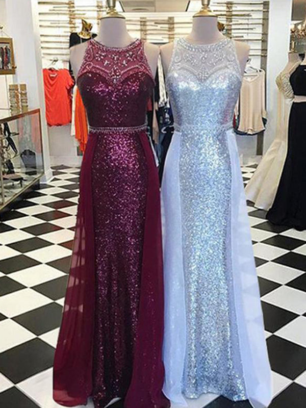 Sequin Rhinestone Round Neck Sleeveless Sheath Long Prom Dresses, DB1116