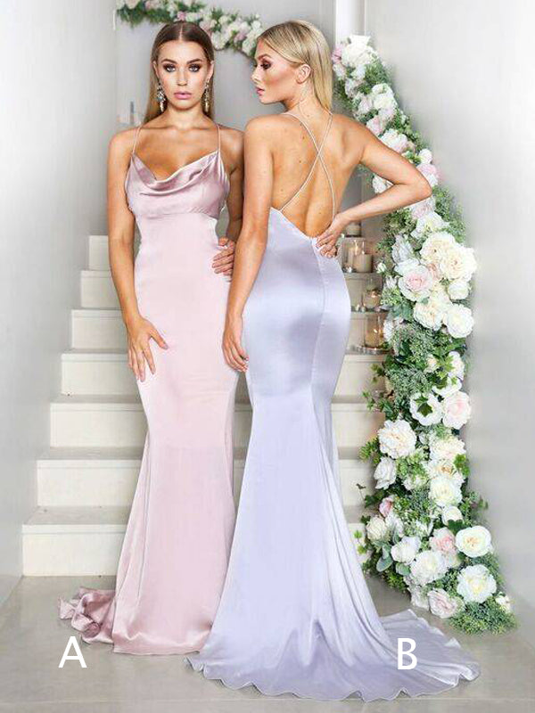 Sexy Spaghetti Strap Criss-cross Backless Mermaid Bridesmaid Dresses,DB121