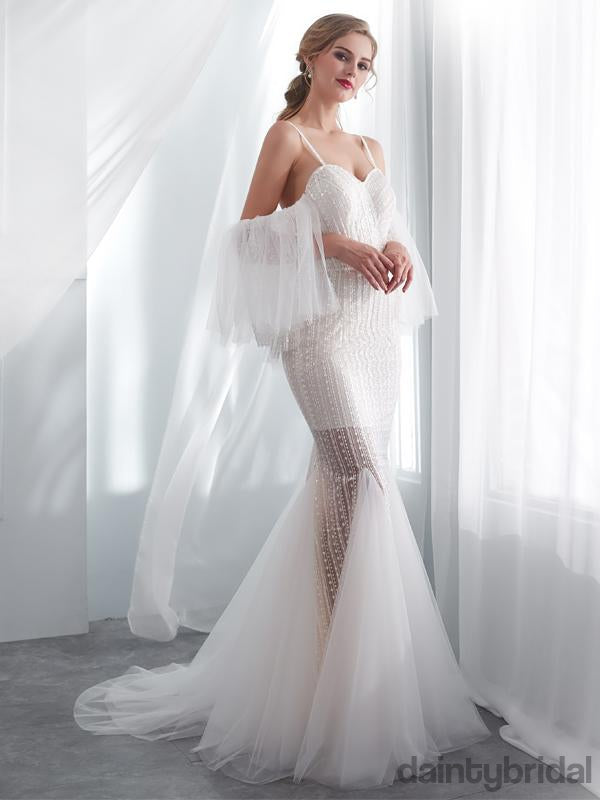 Sexy sweethreat tulle with train see-through wedding dress.DB1008