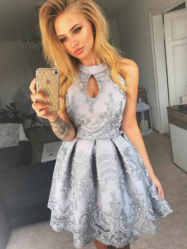Silver Lace Halter Charming Homecoming Dresses ,BD0177