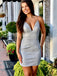 Silver Sparkly Satin Spaghetti Strap Sheath Homecoming Dresses,BD0198