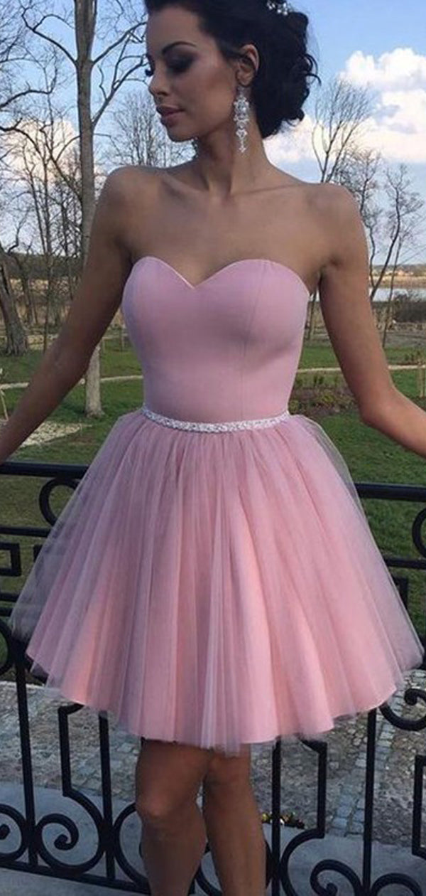 Simple Dusty Pink Tulle Sweetheart Strapless With Beaded Sash Homecoming Dresses,BD0209