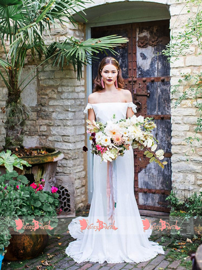 Cheap high neck sleeveless white lace floor length simple for Simple off white wedding dresses