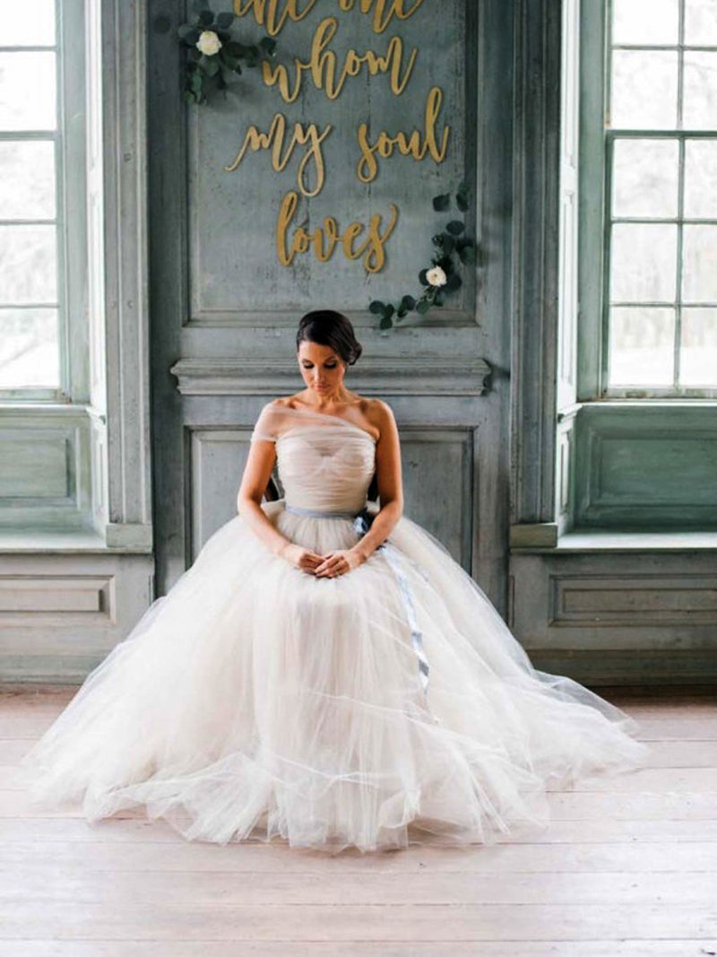 Simple Tulle One Shoulder Ball Gown Cheap Wedding Dresses ,DB0157 ...