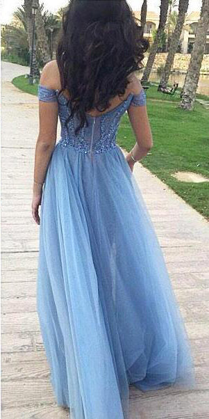 Sky Blue Tulle Off Shoulder Beading A-line Prom Dresses, DB1092