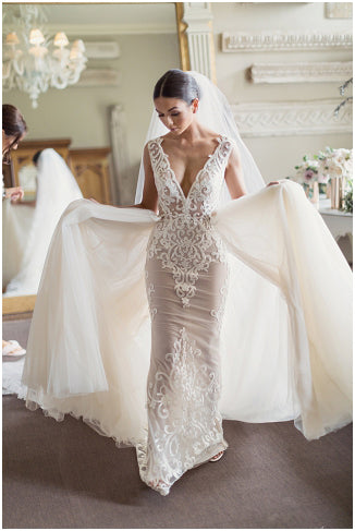 Sleeveless Sheer Lace Detachable Over Skirt Ball Gown Wedding Dresses Wd0161