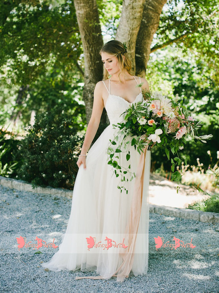 Spaghetti Straps Ivory Lace Tulle Halter Beach Wedding Dresses,DB0145