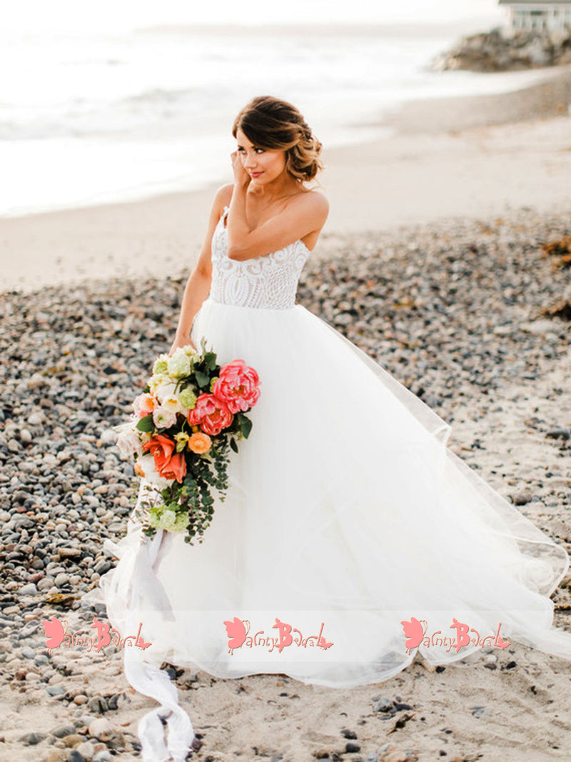 Spaghetti Straps Lace Top Tulle V-neck Beach Wedding Dresses,DB0135