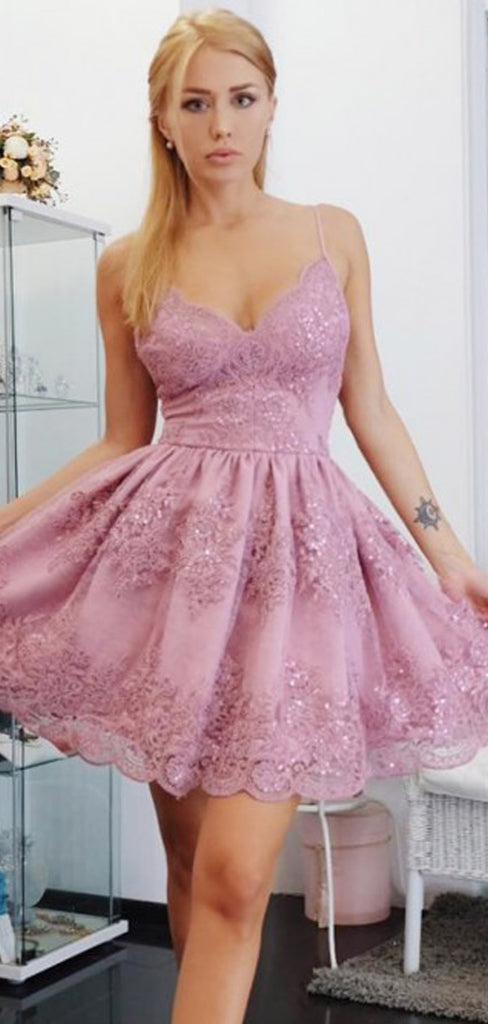 Sparkly Pink Lace Spaghetti Strap V-neck Homecoming Dresses,BD0191