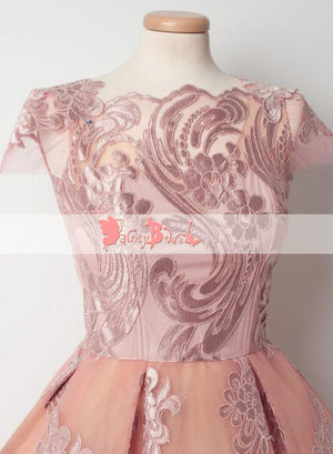 Sweet Pink Lace Appliques Cap Sleeve Keyhole Back Homecoming Dresses,BD0151