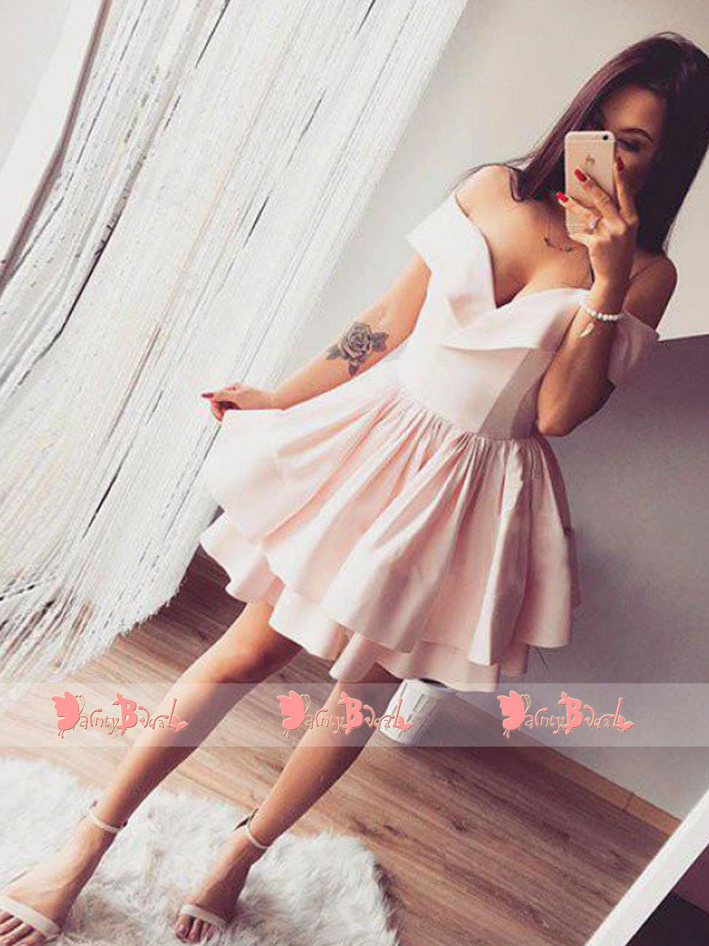 Sweet Pink Popular Off Shoulder Tiered Bottom Simple Cheap Homecoming Dresses,BD0159