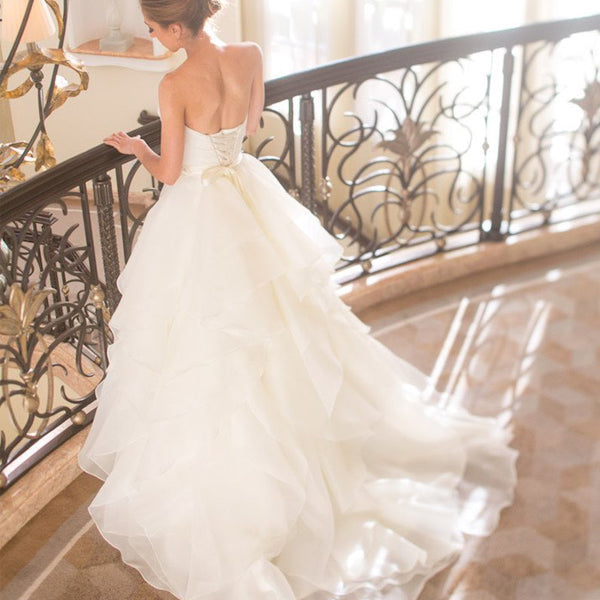 Sweetheart Strapless Ruffles Chiffon Simple Vintage Lace Up Back