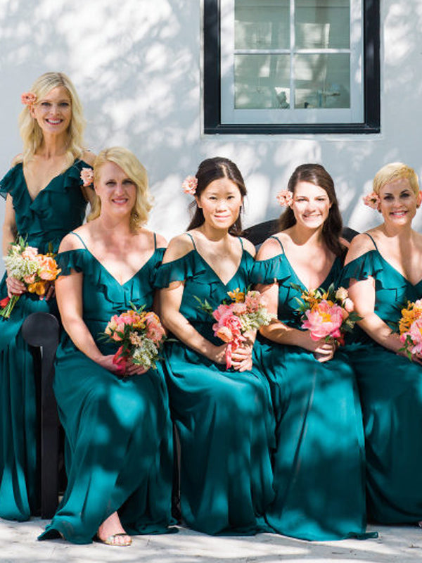Teal Chiffon Saghetti Strap Off Shoulder Long Bridesmaid Dresses,DB144