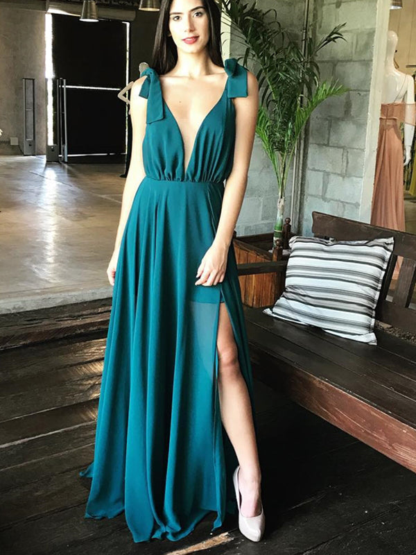 Teal Chiffon V-neck Side Slit Sleeveless Simple Prom Dresses, DB1121