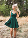 Teal Green Satin Halter With Bowknot Simple Homecoming Dresses,BD0202
