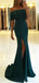 Teal Jersey Off Shoulder Slit Mermaid Evening Party Prom Dresses, DB1089