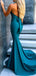 Teal Jersey V-neck Halter Open Back Mermaid Prom Dresses, DB1109