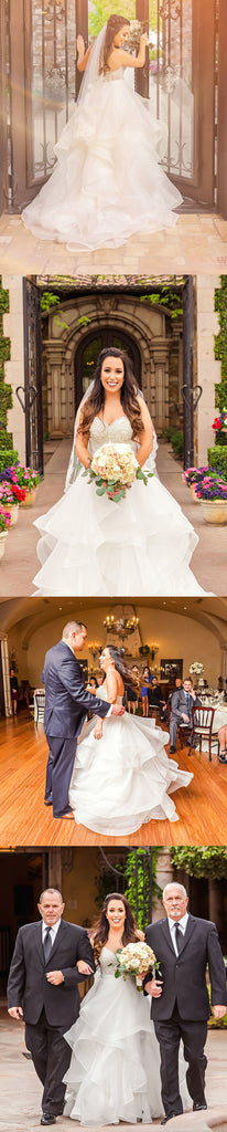 Charming Lace Sweetheart Strapless Gorgeous Organza Ruffles Ball Gown  Long Wedding Dress,DB095