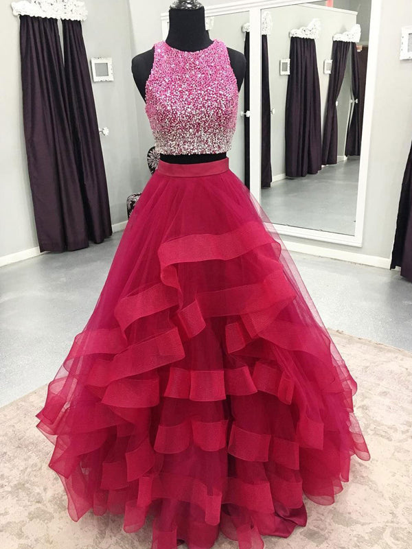 1e8efc02c9 Two Piece Beading Red Ruffles Ball Gown Prom Dresses
