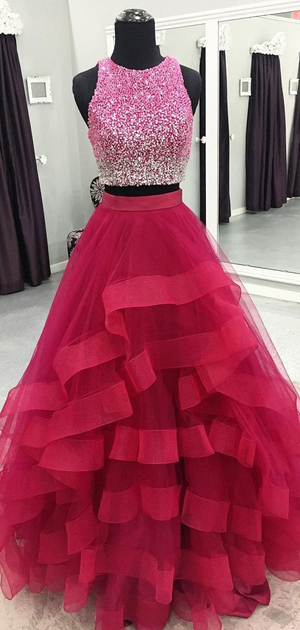 Two Piece Beading Red Ruffles Ball Gown Prom Dresses, DB1099