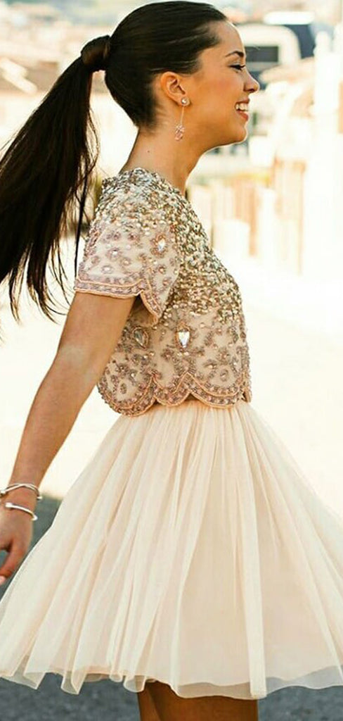 Two Piece Beading Short Sleeve Chiffon Homecoming Dresses ,BD0176