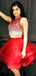 Two Piece Beading Top Red Tulle Fashion Homecoming Dresses,BD0196