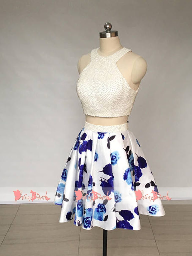 Two Piece Ivory Beads Top Floral Prints Open Back Junior Homecoming Dresses,BD0163